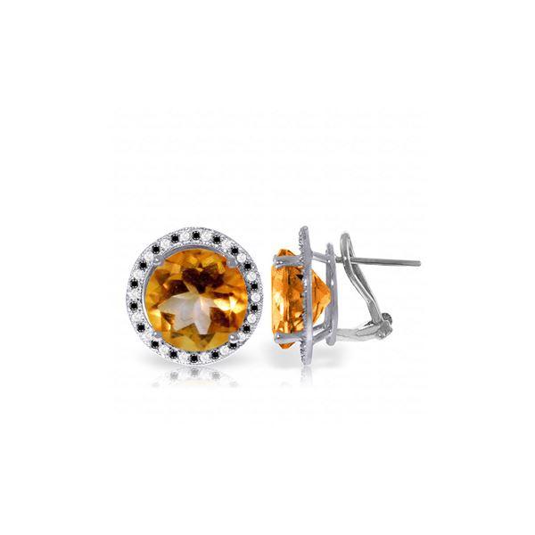 Genuine 12.4 ctw Citrine, White & Black Diamond Earrings 14KT White Gold - REF-124A2K