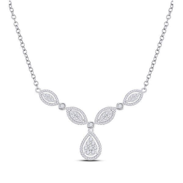 Round Diamond Teardrop Necklace 3/4 Cttw 10KT White Gold