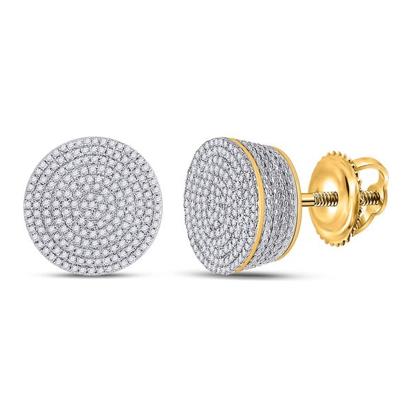 Round Diamond Concentric Cluster Earrings 3/4 Cttw 10KT Yellow Gold