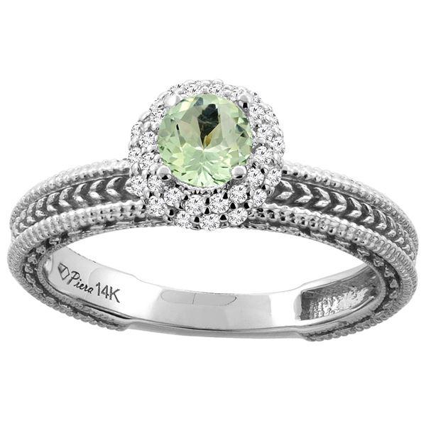 0.67 CTW Amethyst & Diamond Ring 14K White Gold - REF-53X3M