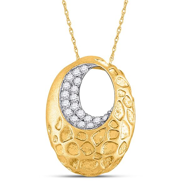 Round Diamond Spotted Oval Pendant 1/6 Cttw 14KT Yellow Gold