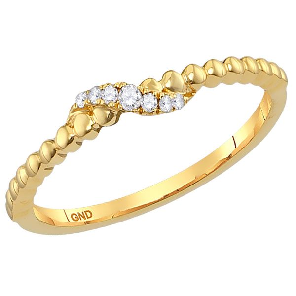 Round Diamond Crossover Stackable Band Ring 1/20 Cttw 10KT Yellow Gold