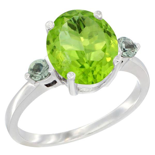 3.02 CTW Peridot & Green Sapphire Ring 14K White Gold - REF-36F3N