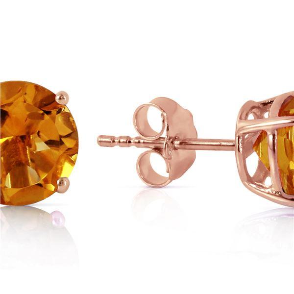 Genuine 3.1 ctw Citrine Earrings 14KT Rose Gold - REF-23T9A