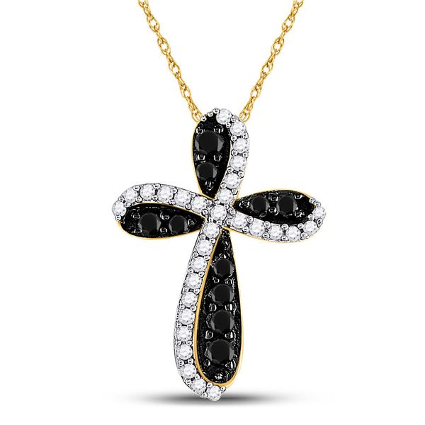 Round Black Color Enhanced Diamond Cross Pendant 1 Cttw 10KT Yellow Gold