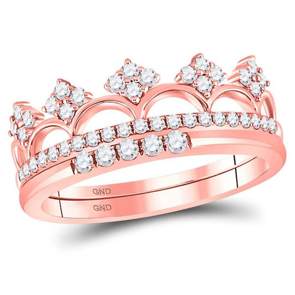Round Diamond Fashion Band Ring 3/8 Cttw 14KT Rose Gold