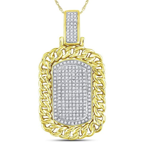 Round Diamond Curb Link Dog Tag Charm Pendant 5/8 Cttw 10KT Yellow Gold