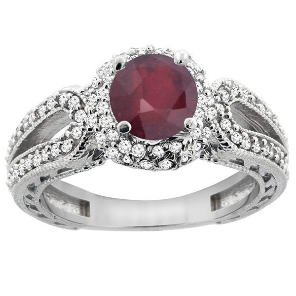 1.55 CTW Ruby & Diamond Ring 14K White Gold - REF-87F5N