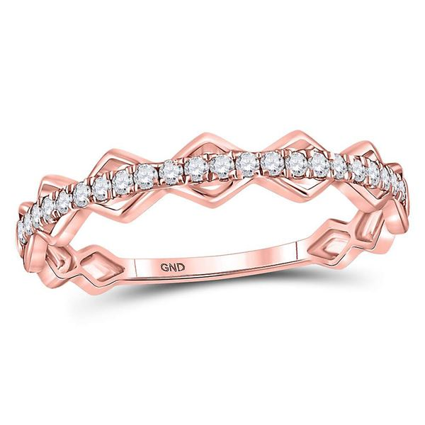Round Diamond Link Stackable Band Ring 1/5 Cttw 10KT Rose Gold