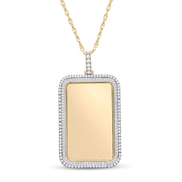 Baguette Diamond Dog Tag Picture Memory Pendant 2 Cttw 10KT Yellow Gold