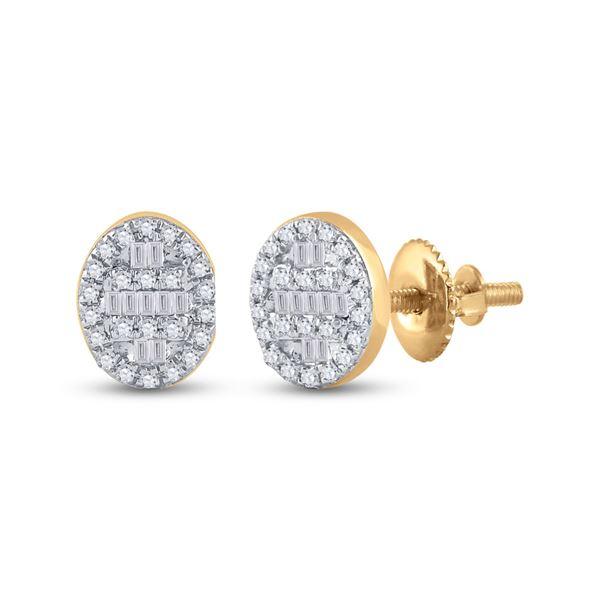 Baguette Diamond Oval Cluster Earrings 1/4 Cttw 10KT Yellow Gold