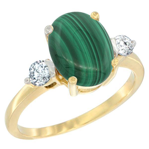 2.95 CTW Malachite & Diamond Ring 10K Yellow Gold - REF-60K2W