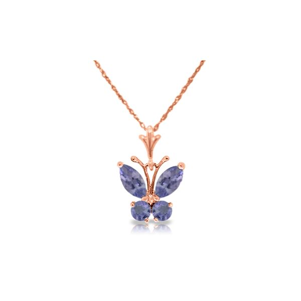 Genuine 0.60 ctw Tanzanite Necklace 14KT Rose Gold - REF-27M5T