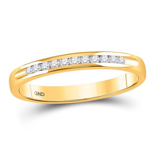 Machine Set Round Diamond Wedding Channel Band 1/10 Cttw 14KT Yellow Gold
