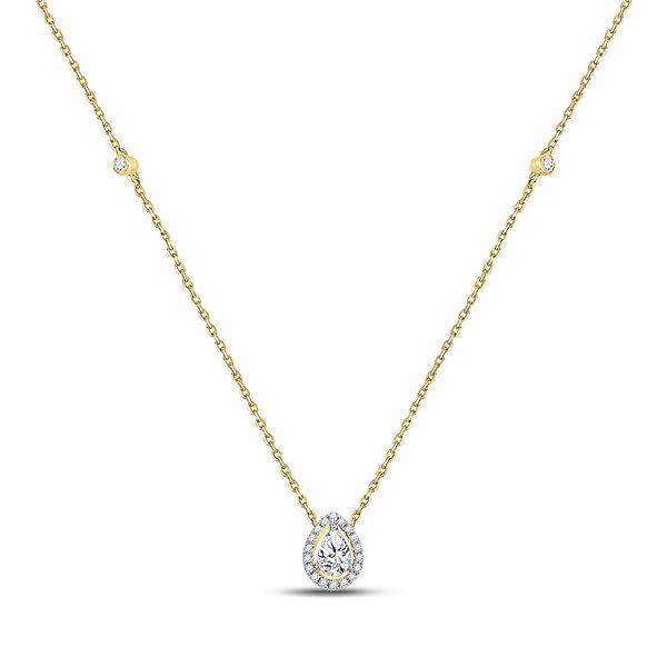 Pear Diamond Fashion Teardrop Necklace 1/2 Cttw 14KT White Gold