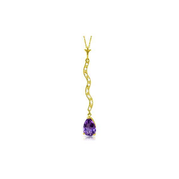 Genuine 1.79 ctw Amethyst & Diamond Necklace 14KT Yellow Gold - REF-34A6K