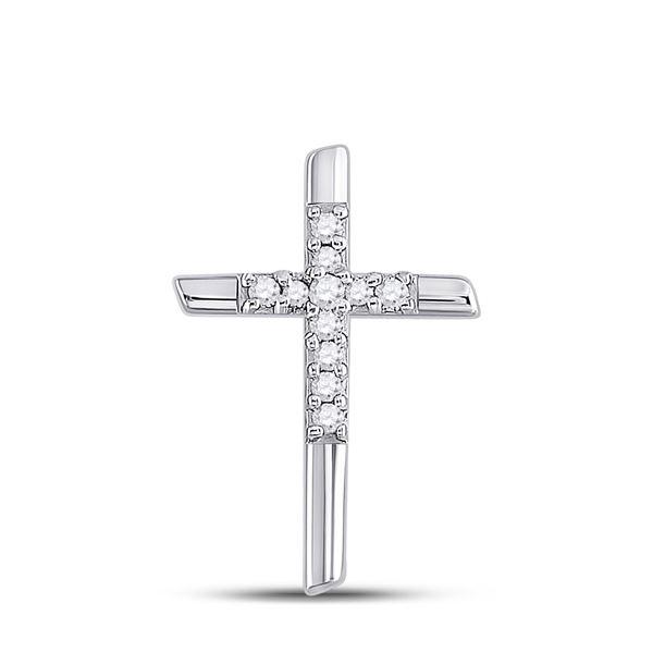Round Diamond Cross Pendant 1/12 Cttw 10KT White Gold