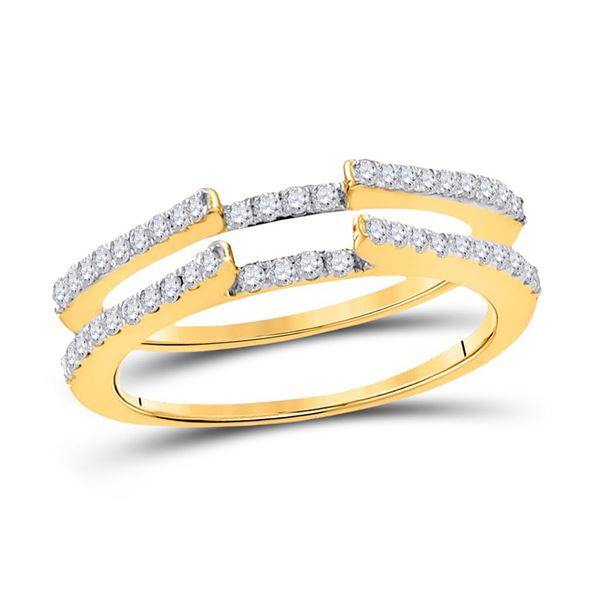 Round Diamond Ring Guard Wrap Solitaire Enhancer 1/2 Cttw 14KT Yellow Gold