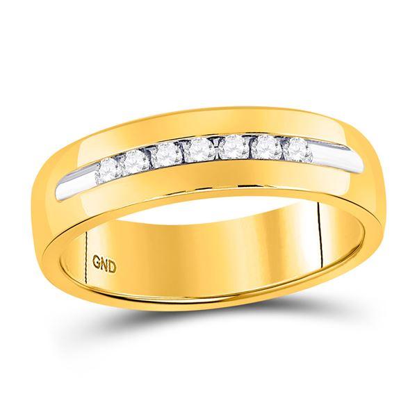 Machine Set Round Diamond Wedding Channel Band Ring 1/4 Cttw 14KT Yellow Gold