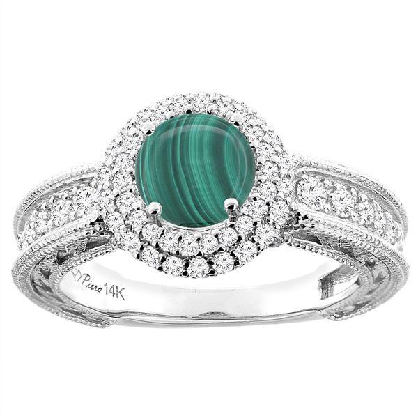 2.68 CTW Malachite & Diamond Ring 14K White Gold - REF-91W5F