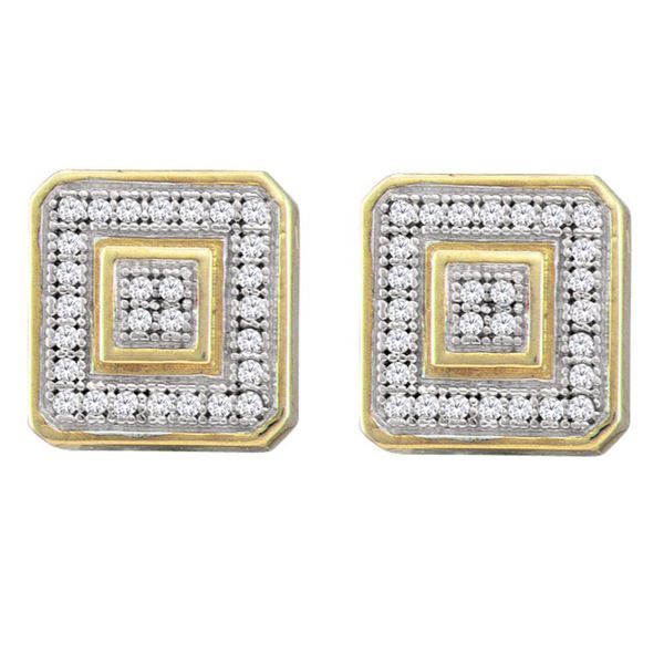 Round Diamond Square Cluster Earrings 1/6 Cttw 10KT Yellow Gold