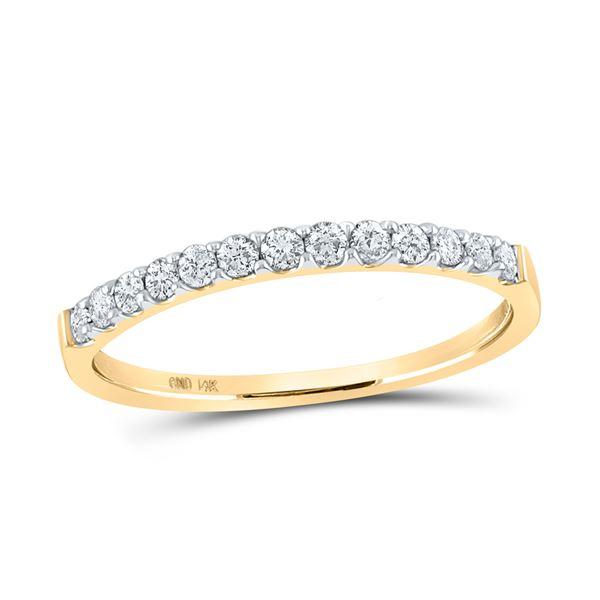 Round Diamond Slender Wedding Anniversary Band 1/4 Cttw 14KT Yellow Gold