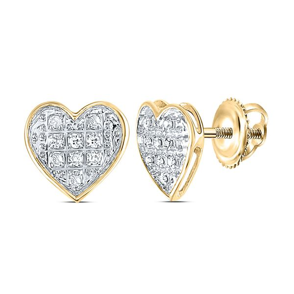 Round Diamond Heart Earrings 1/20 Cttw 10KT Yellow Gold