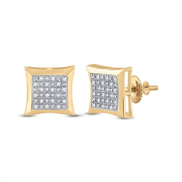 Round Diamond Kite Square Earrings 1/12 Cttw 10KT Yellow Gold