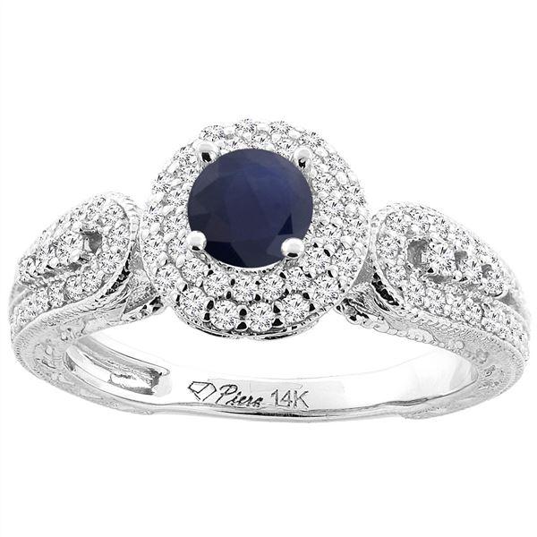 1.10 CTW Blue Sapphire & Diamond Ring 14K White Gold - REF-99V4R