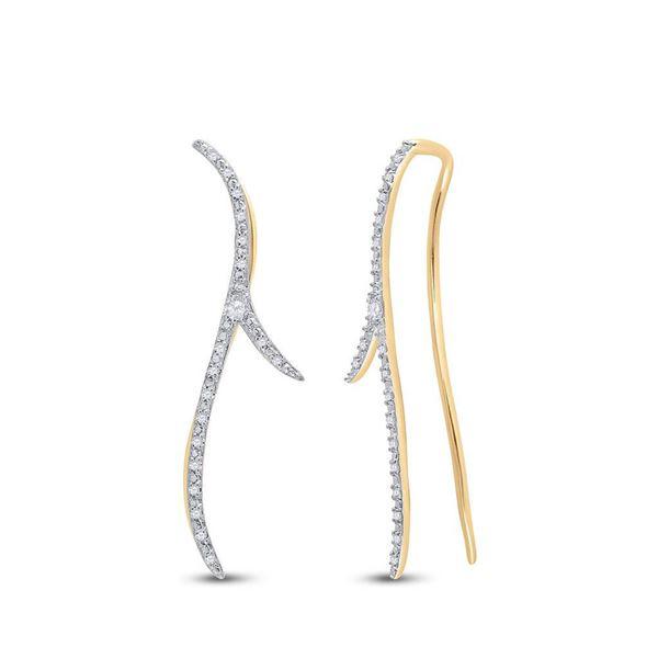 Round Diamond Slender Climber Earrings 1/5 Cttw 10KT Yellow Gold