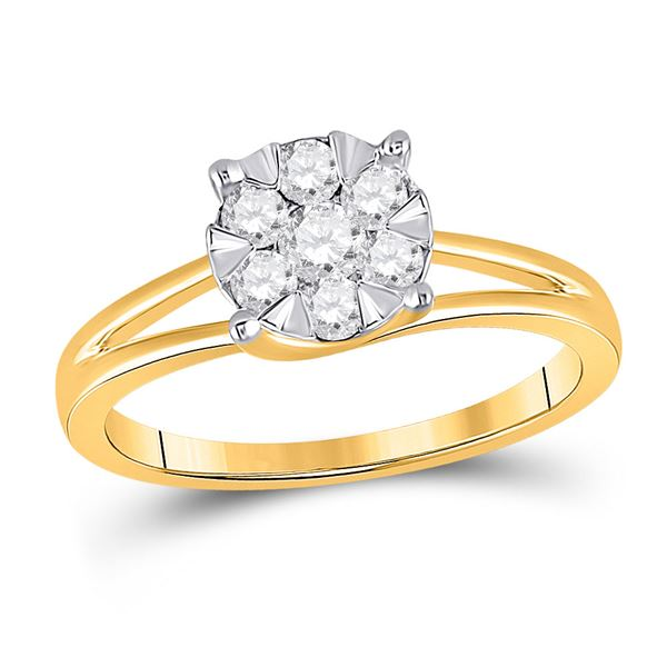 Round Diamond Flower Cluster Ring 1/2 Cttw 10KT Yellow Gold