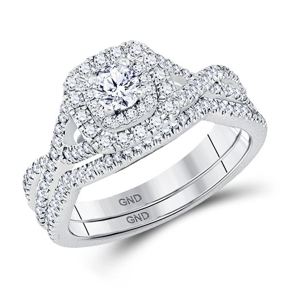 Diamond Bridal Wedding Ring Band Set 3/4 Cttw 14KT White Gold