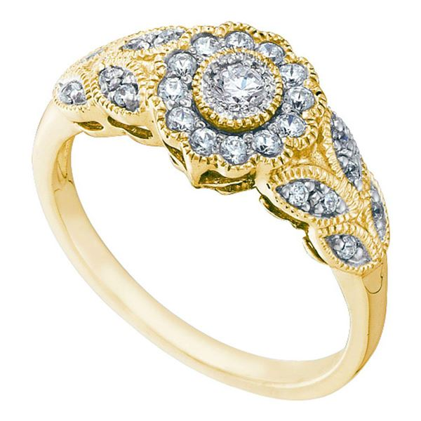 Round Diamond Solitaire Floral Cluster Milgrain Ring 1/3 Cttw 10KT Yellow Gold