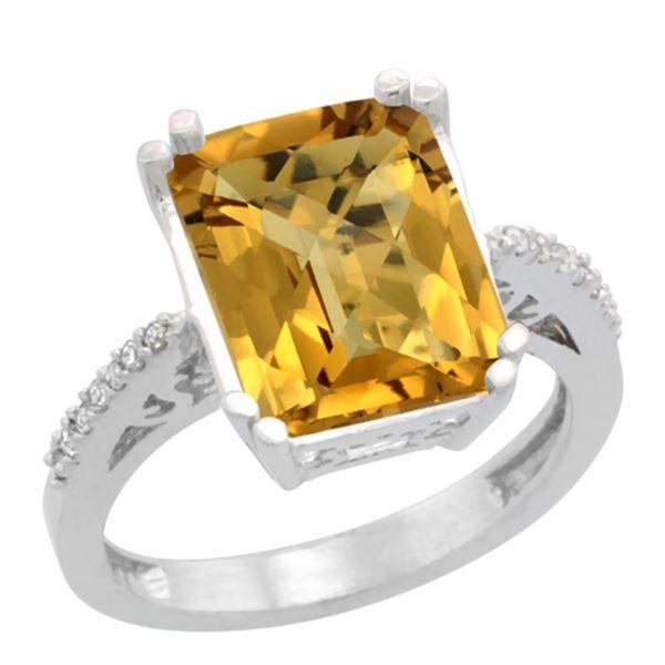 5.52 CTW Quartz & Diamond Ring 10K White Gold - REF-42H3M