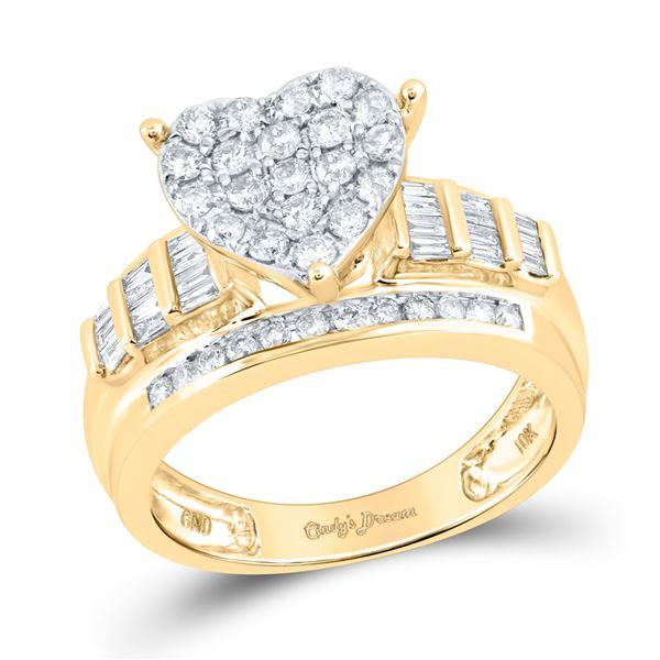 Diamond Heart Cluster Bridal Wedding Engagement Ring 1 Cttw 10KT Yellow Gold