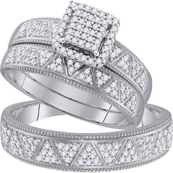 Diamond Square Matching Wedding Set 1/2 Cttw 10KT White Gold