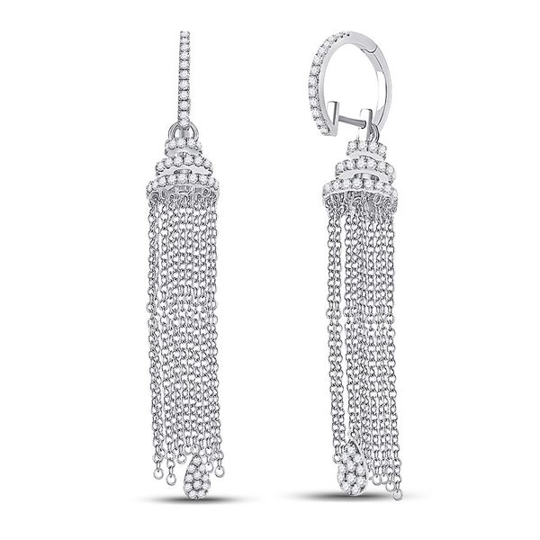 Round Diamond Chain Teardrop Dangle Earrings 1-5/8 Cttw 14KT White Gold