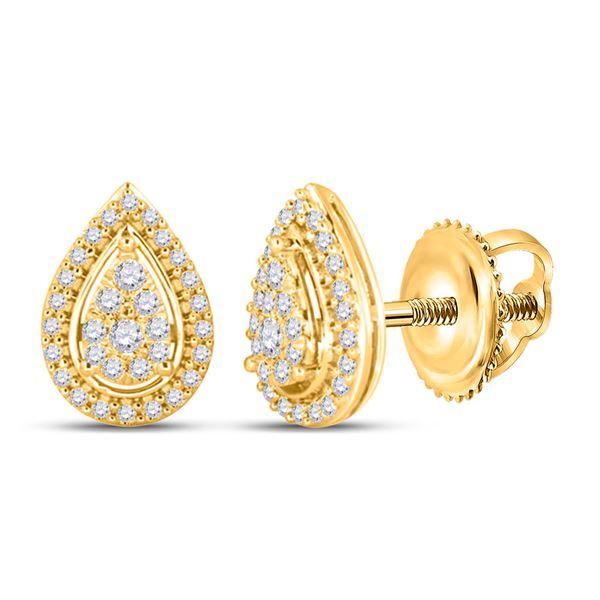 Round Diamond Teardrop Earrings 1/2 Cttw 14KT Yellow Gold