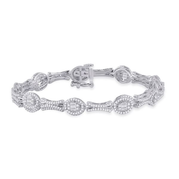 Baguette Diamond Oval Link Bracelet 2 Cttw 14KT White Gold