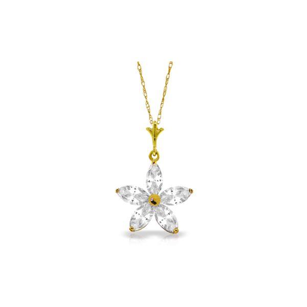 Genuine 1.40 ctw White Topaz Necklace 14KT Yellow Gold - REF-25M8T