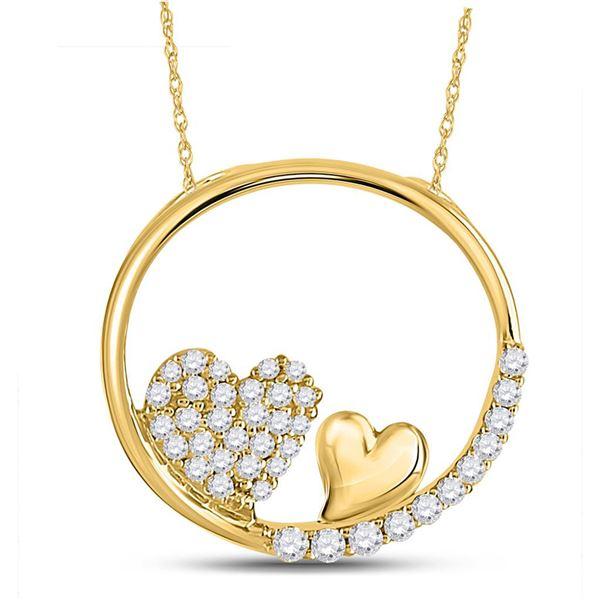 Round Diamond Heart Circle Pendant 1/5 Cttw 10KT Yellow Gold