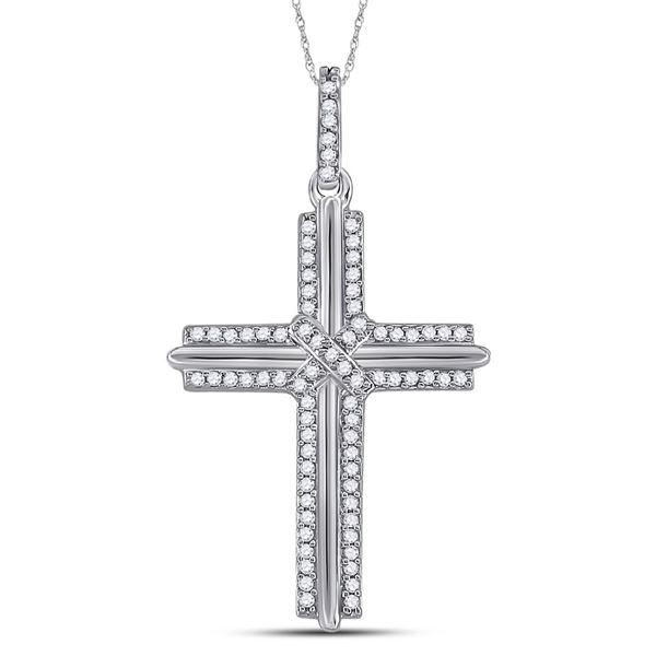 Round Diamond Cross Charm Pendant 1/5 Cttw 10KT White Gold