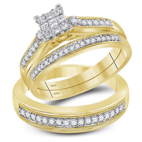 Cluster Matching Wedding Set 1/2 Cttw 10KT Yellow Gold