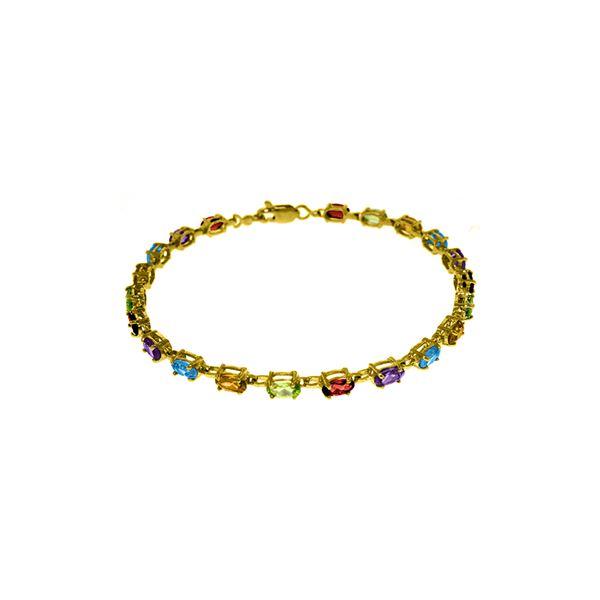 Genuine 5.46 ctw Garnet, Peridot & Citrine Bracelet 14KT Yellow Gold - REF-96R7P