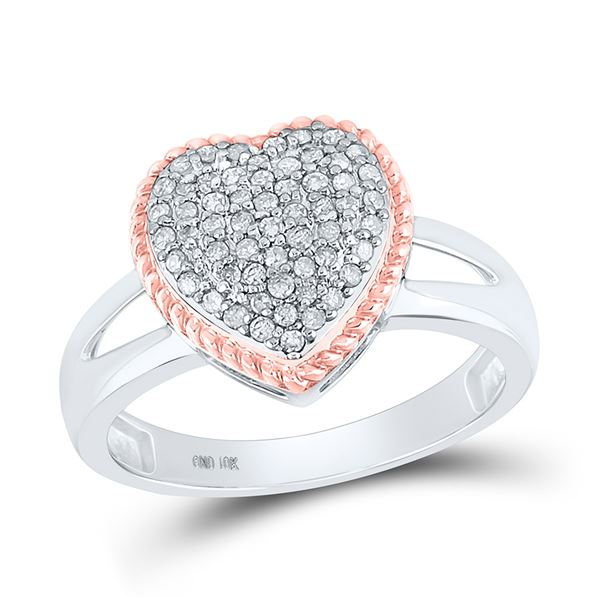 Round Diamond Rope Heart Ring 1/3 Cttw 10KT Two-tone Gold