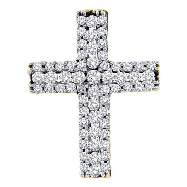 Round Diamond Cross Pendant 1/2 Cttw 14KT Yellow Gold