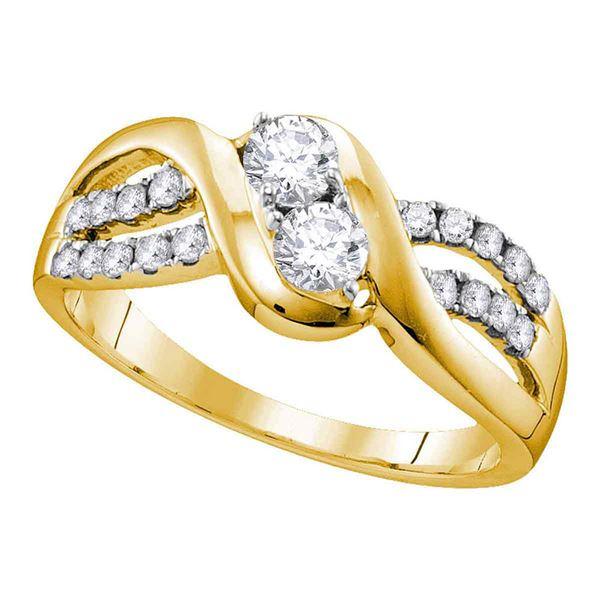 Diamond 2-stone Bridal Wedding Engagement Ring 5/8 Cttw 10KT Yellow Gold
