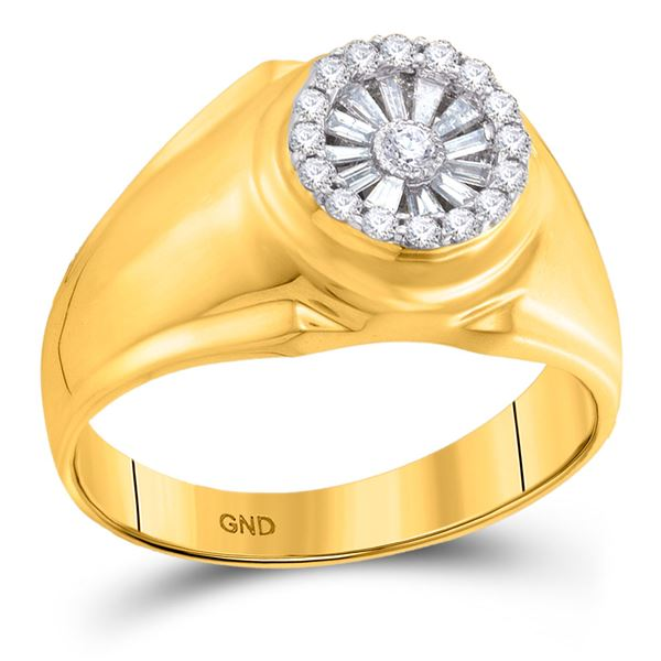 Baguette Diamond Circle Solitaire Ring 1/2 Cttw 14KT Yellow Gold