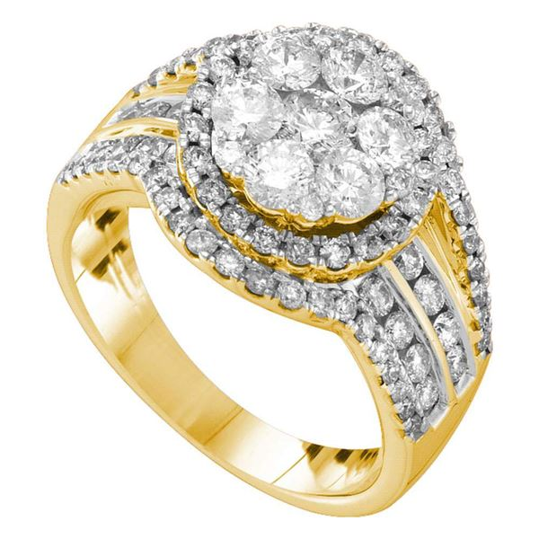 Round Diamond Flower Cluster Ring 2 Cttw 14KT Yellow Gold