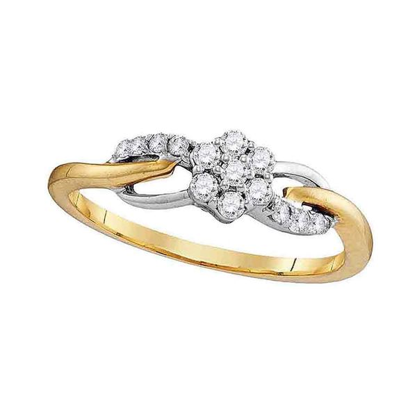 Round Diamond Flower Cluster Infinity Ring 1/4 Cttw 10KT Yellow Gold